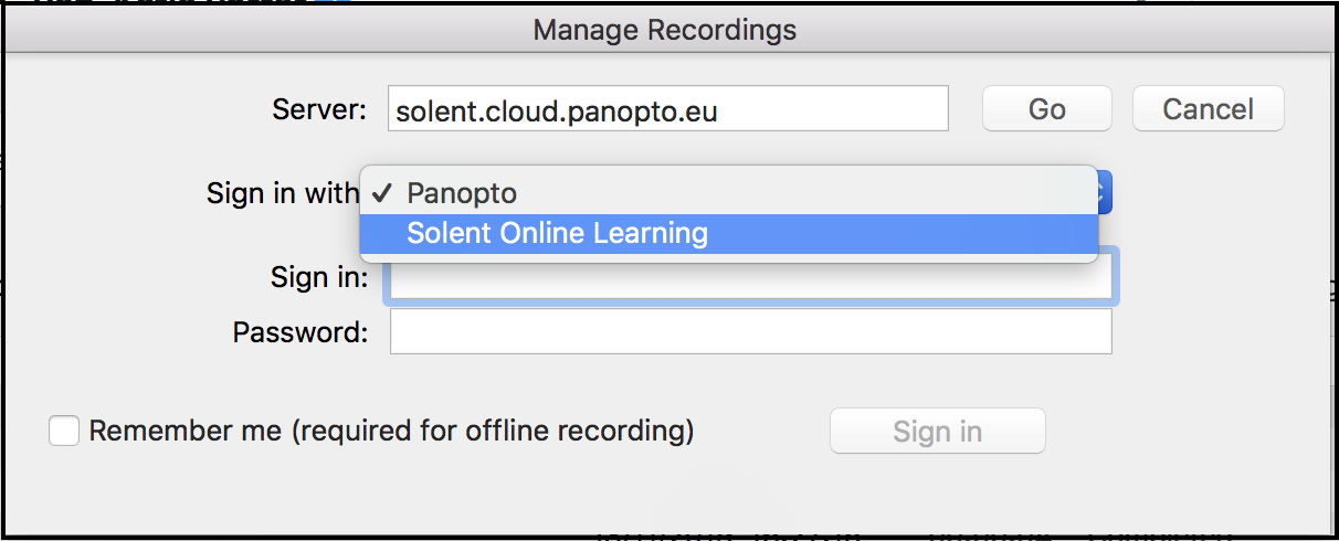 Sign into Panopto using the Solent Online Learning option
