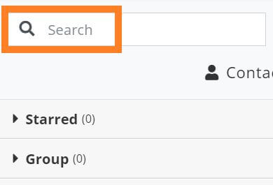 screenshot of the search field