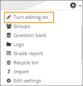 Image shows turn editing on link