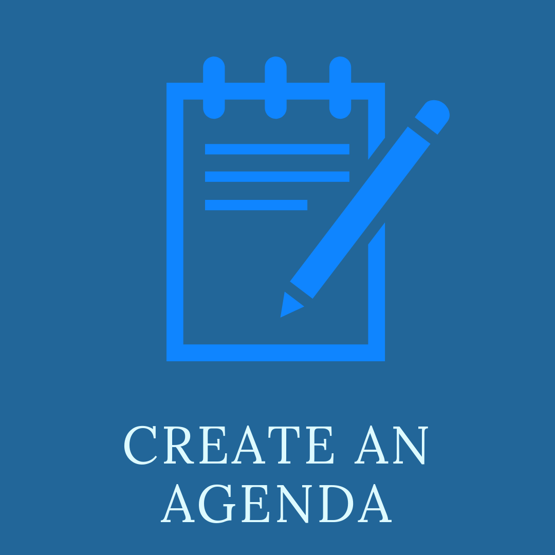 Create an agenda with an image of a notepad and pen.