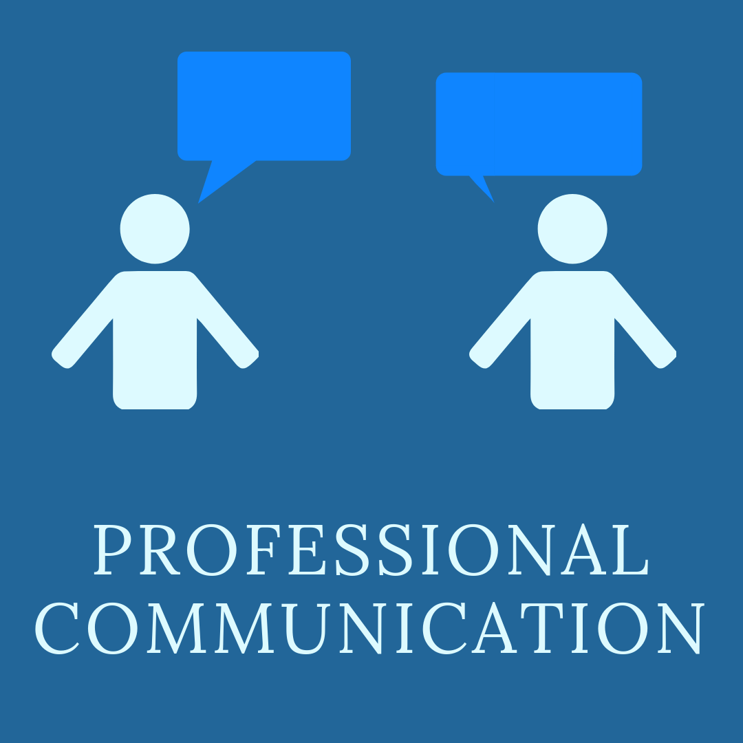 Professional communication with an image of two people talking.