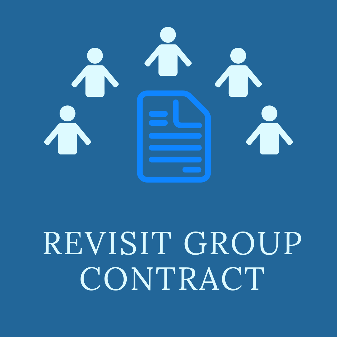 Revisit group contract with an image of people around a document.