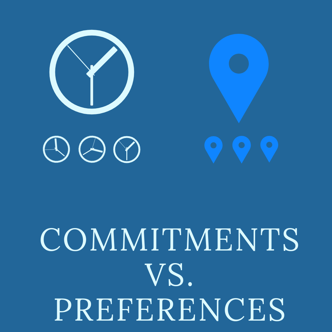 commitments versus preferences with images of clocks and location pins.