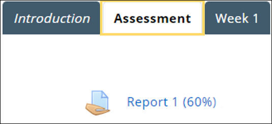 Image shows assessment tab and link