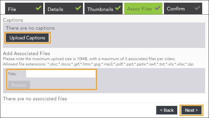 Image shows associated files tab