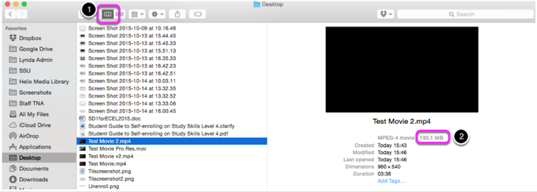 Submitting assignments online: Compressing a video file using Apple
