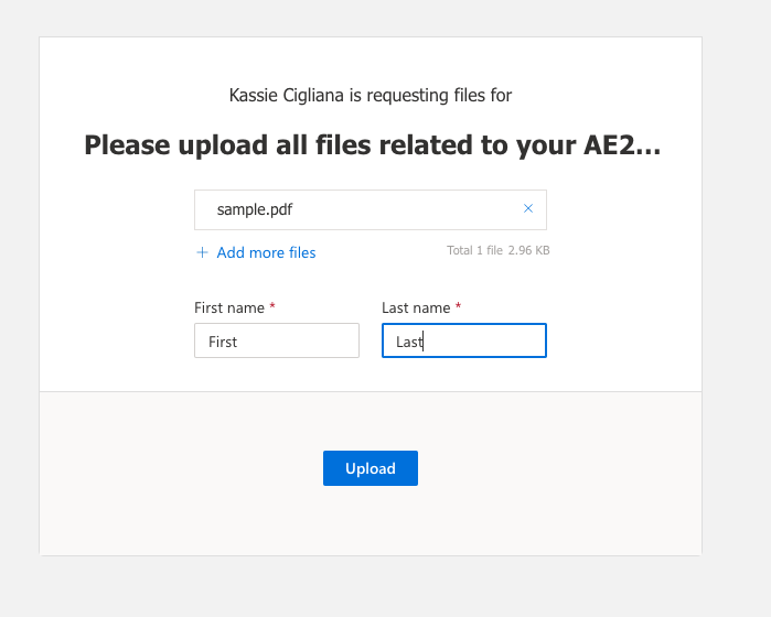select your files and enter your name